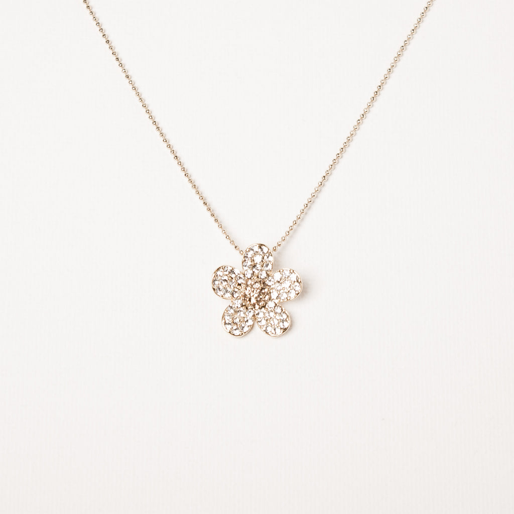 Small Cluster Daisy Flower Necklace Clear/Black Diamond