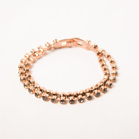 Black Diamond/Rose Gold 2 Row Tennis Bracelet