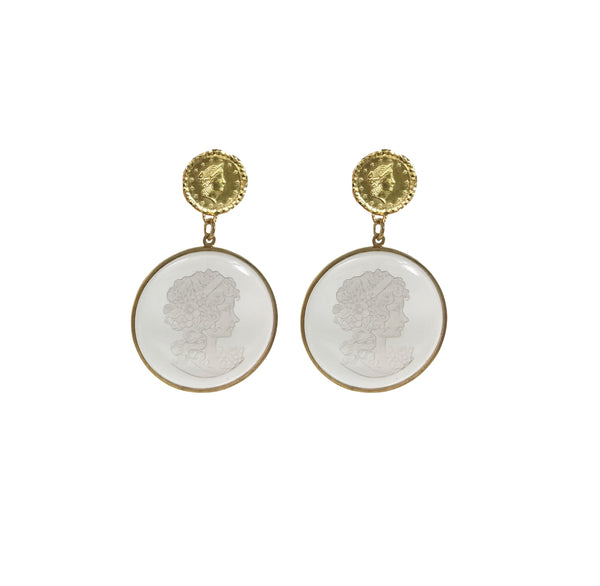 Crystal cut cameo earrings