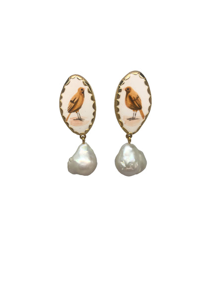 Canary and pearl earrings