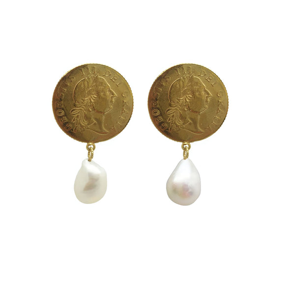 large Coin and Pearl Earrings