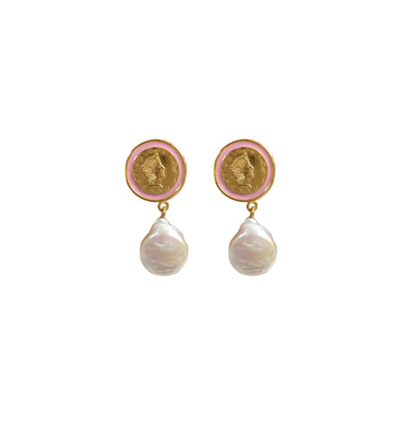 Colour pearl drop earrings