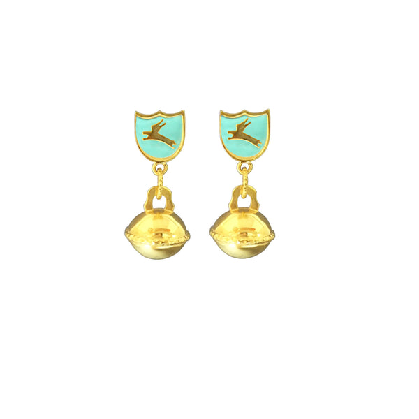 Enamel bunny shield earrings