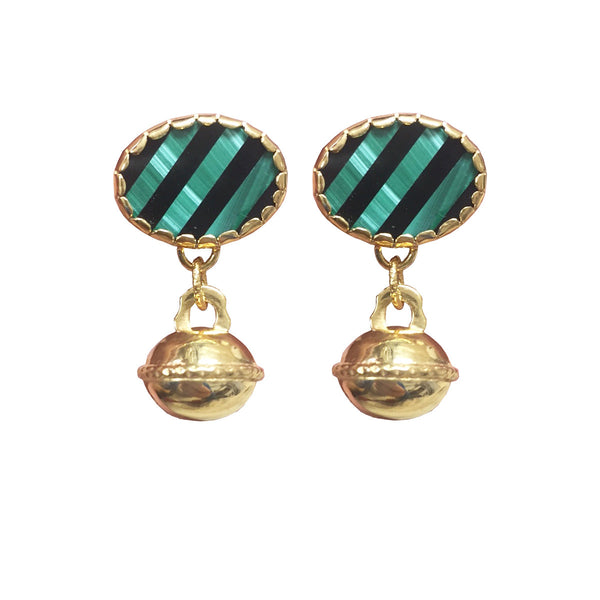Malachite Bell and Onyx earrings
