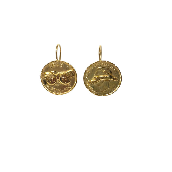 Mismatched farthing earrings