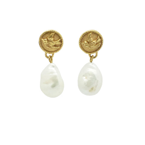 Swallow Pearl Drop Earrings