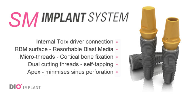 DIO SM Submerged (Narrow, Regular, Wide - Short) Dental Implant System