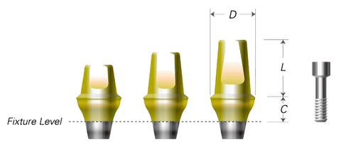 DIO UF(II) Cemented Abutments (Non-Hex)