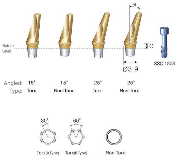 DIO SM Narrow Angled Abutments 3.8 4.1