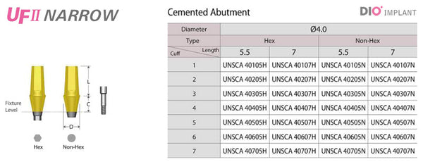 DIO UF(II) Narrow Cemented Abutment (4 Diameter)