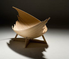 contemporary wooden leaf design bench