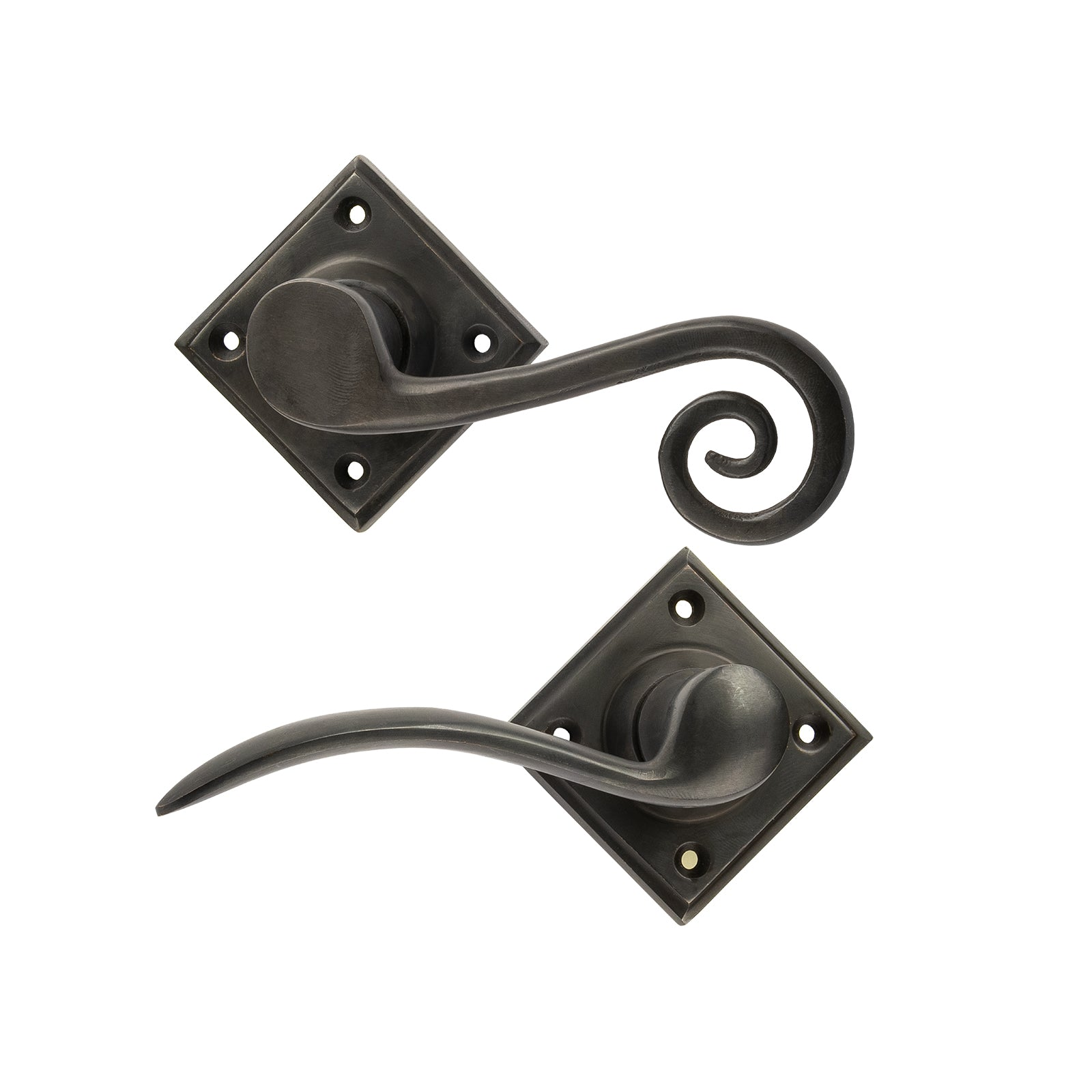 Monkey Tail Lever On Rose Bronze Door Handle