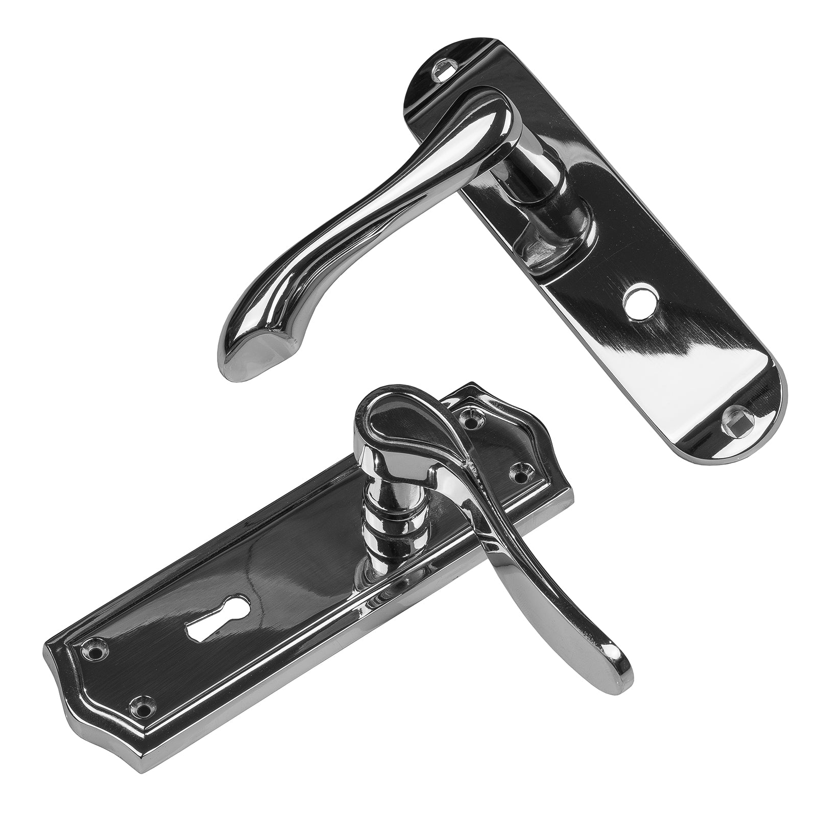 Chrome Lever Door Handles, Lock, Latch and Bathroom