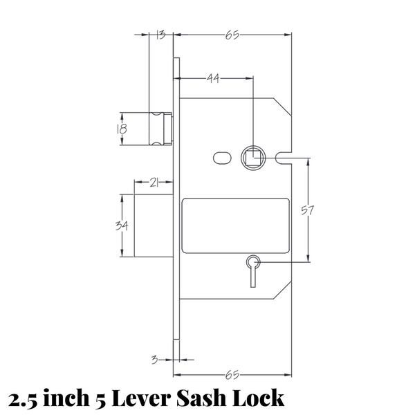 2.5 inch 5 lever sash lock drawing with measurements