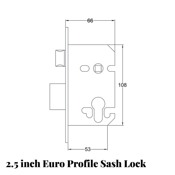 2.5 inch euro profile sash lock drawing with measurements