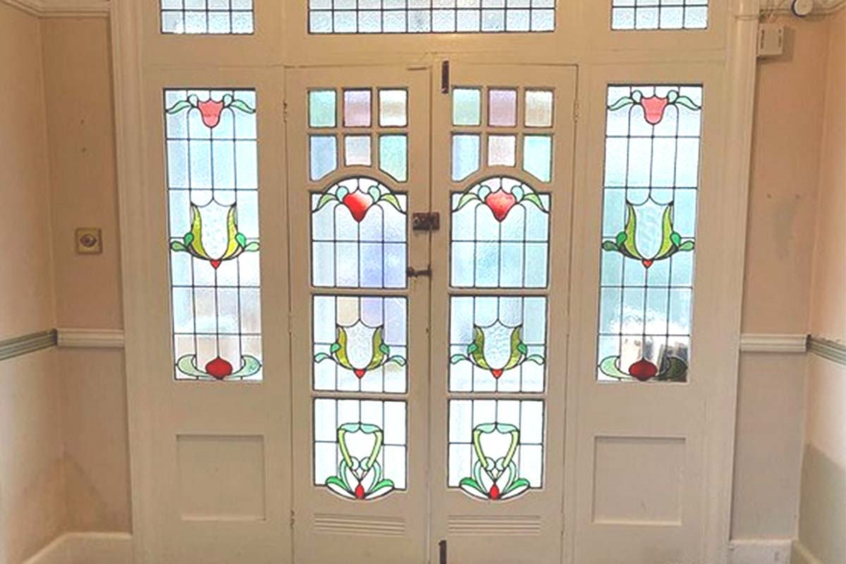 stained glass feature doors