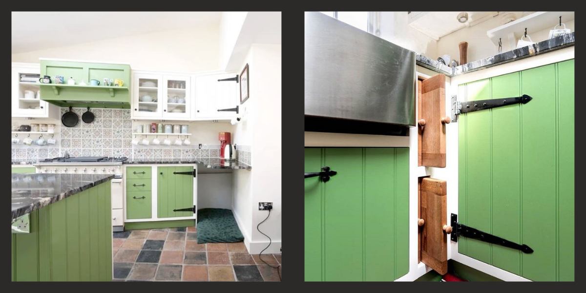 Country cottage style kitchen with T Hinges