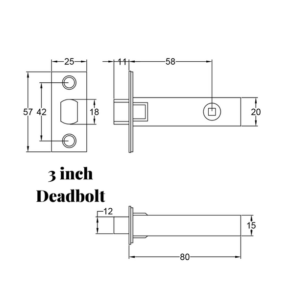 3 inch deadbolt drawing with measurements