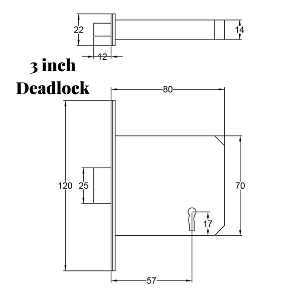 3 inch deadlock drawing