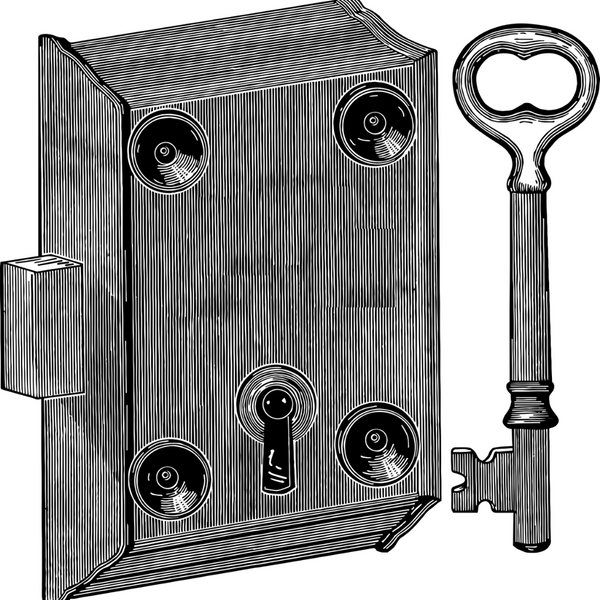Vector image of a vintage deadlock and key