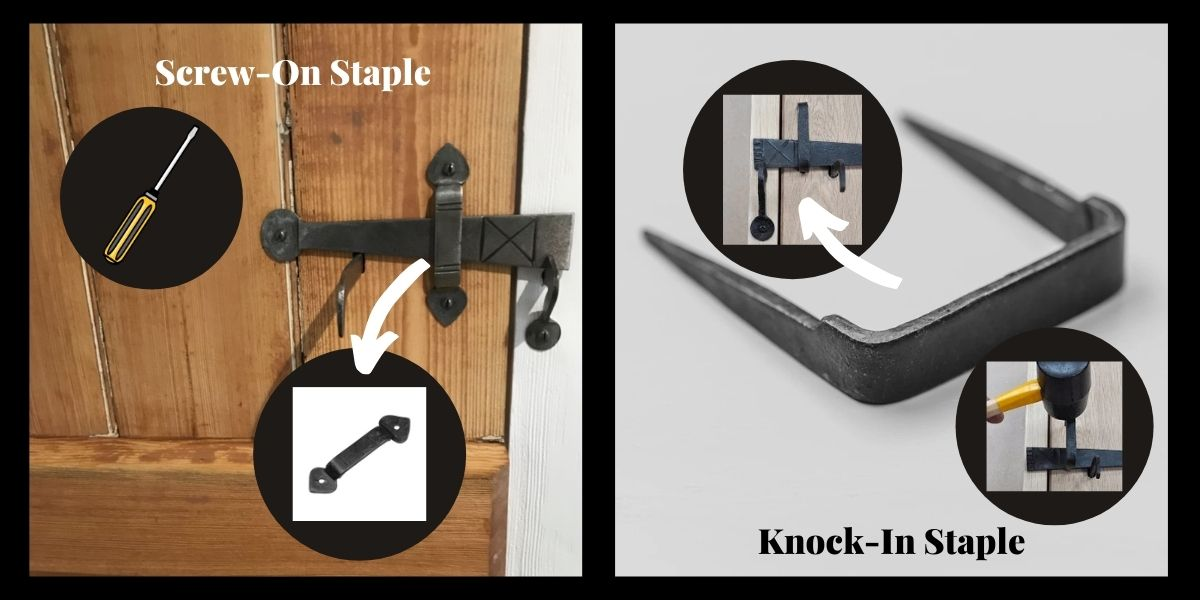 Fitting the staple to a suffolk latch