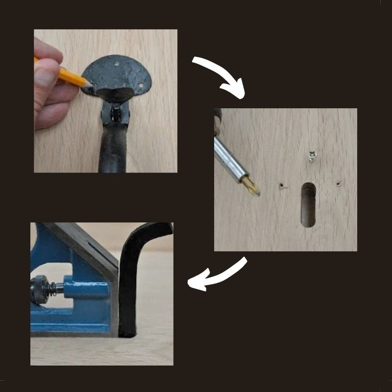 Fixing the handle and bar for fitting a suffolk latch