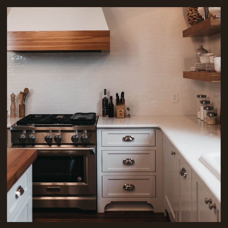 Kitchen with cup pulls