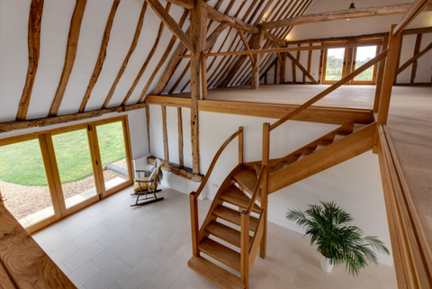 Staircase view of Oak Meadow Barn