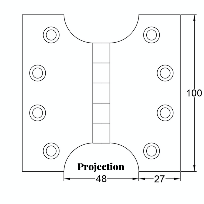 Projection measurement on parliament hinge