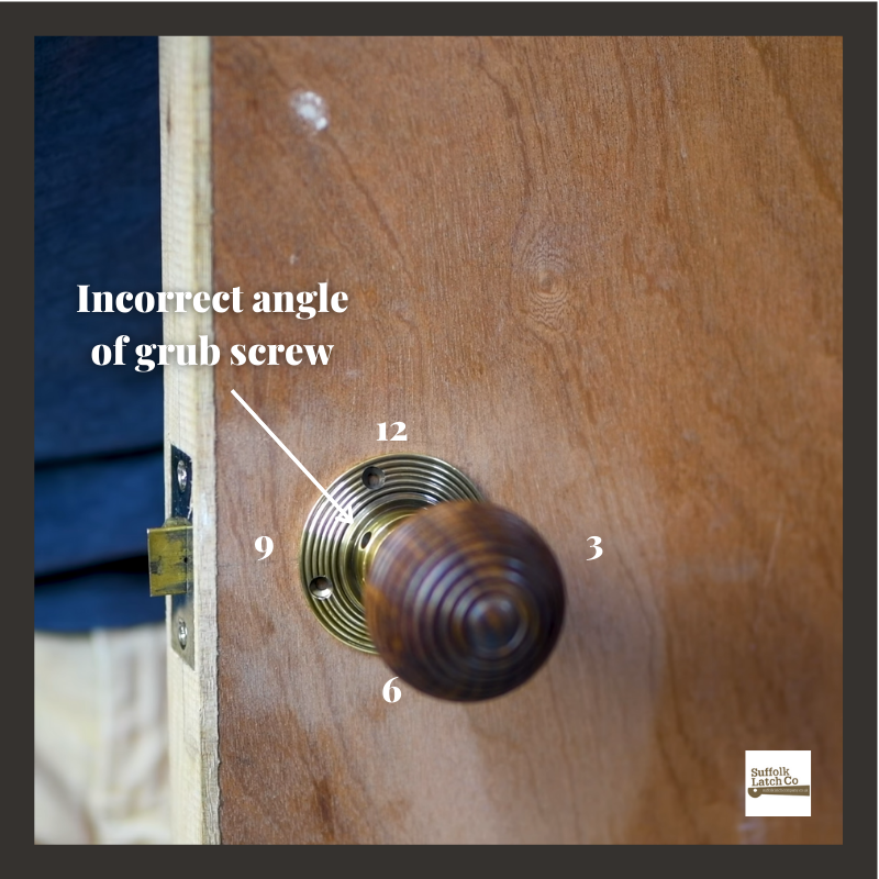 Step 5 fitting a beehive door knob correctly