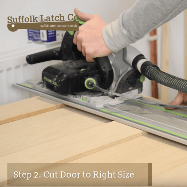 How to hang a door, step two, cut the door to the right size