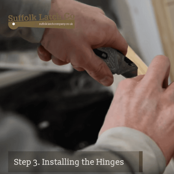 How to hang a door, step three, installing the hinges