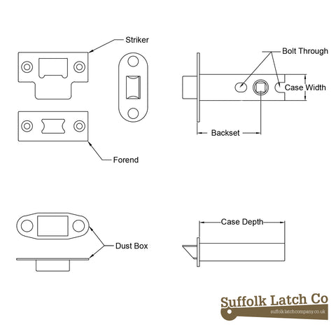 tubular latch measurements, tubular door latch, door latch sizes and tubular latch sizes