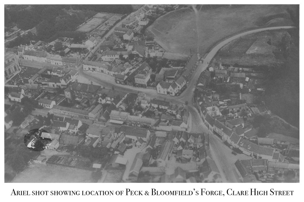 Peck and Bloomfield, Clare High Street, Old Site, Ariel View