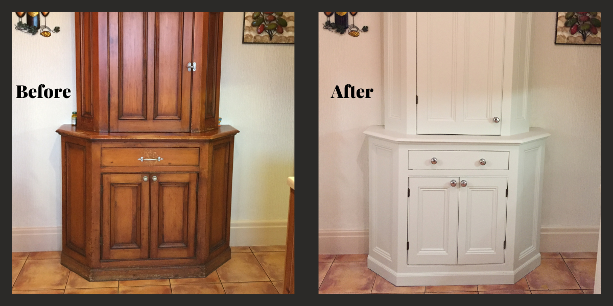 Before and after cabinet renovation