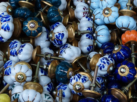 medieval door handles and collection of ceramic cabinet knobs