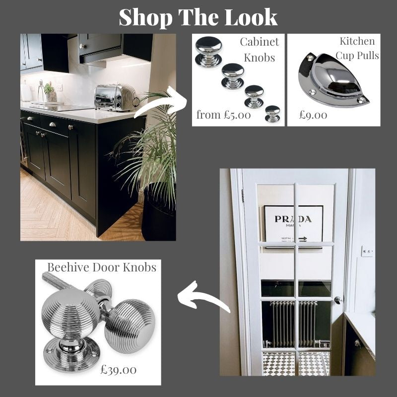 Chrome Beehive door knobs and cabinet furniture