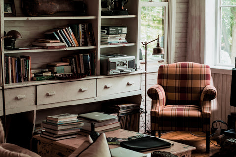 cottage room with books
