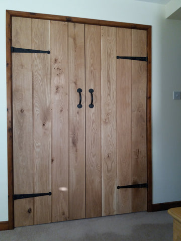 wardrobe doors with hand forged hinges and pull handles