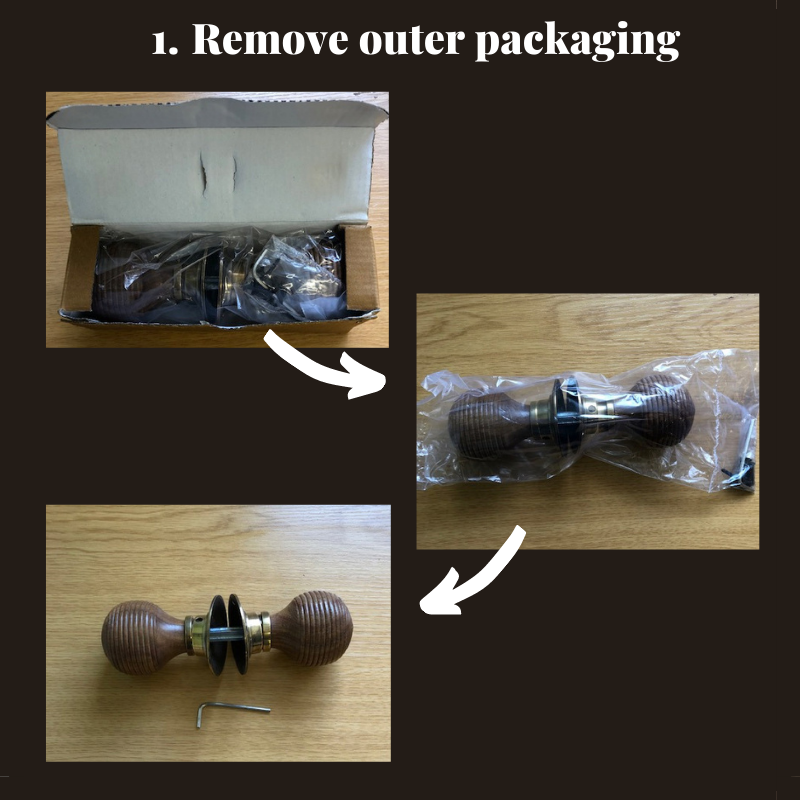 Unboxing door knobs remove outer packaging