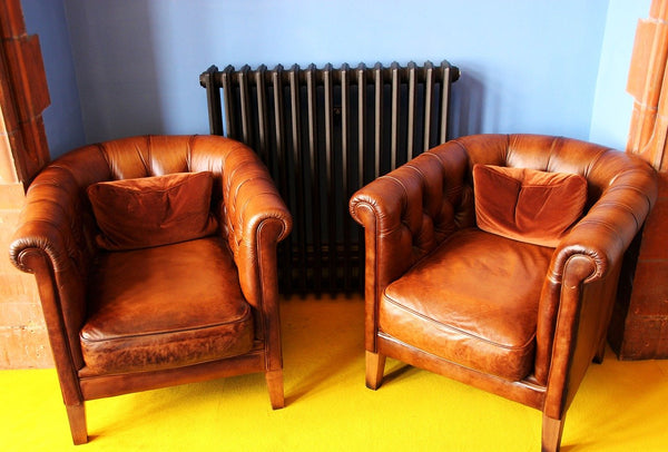Leather chairs with cushions