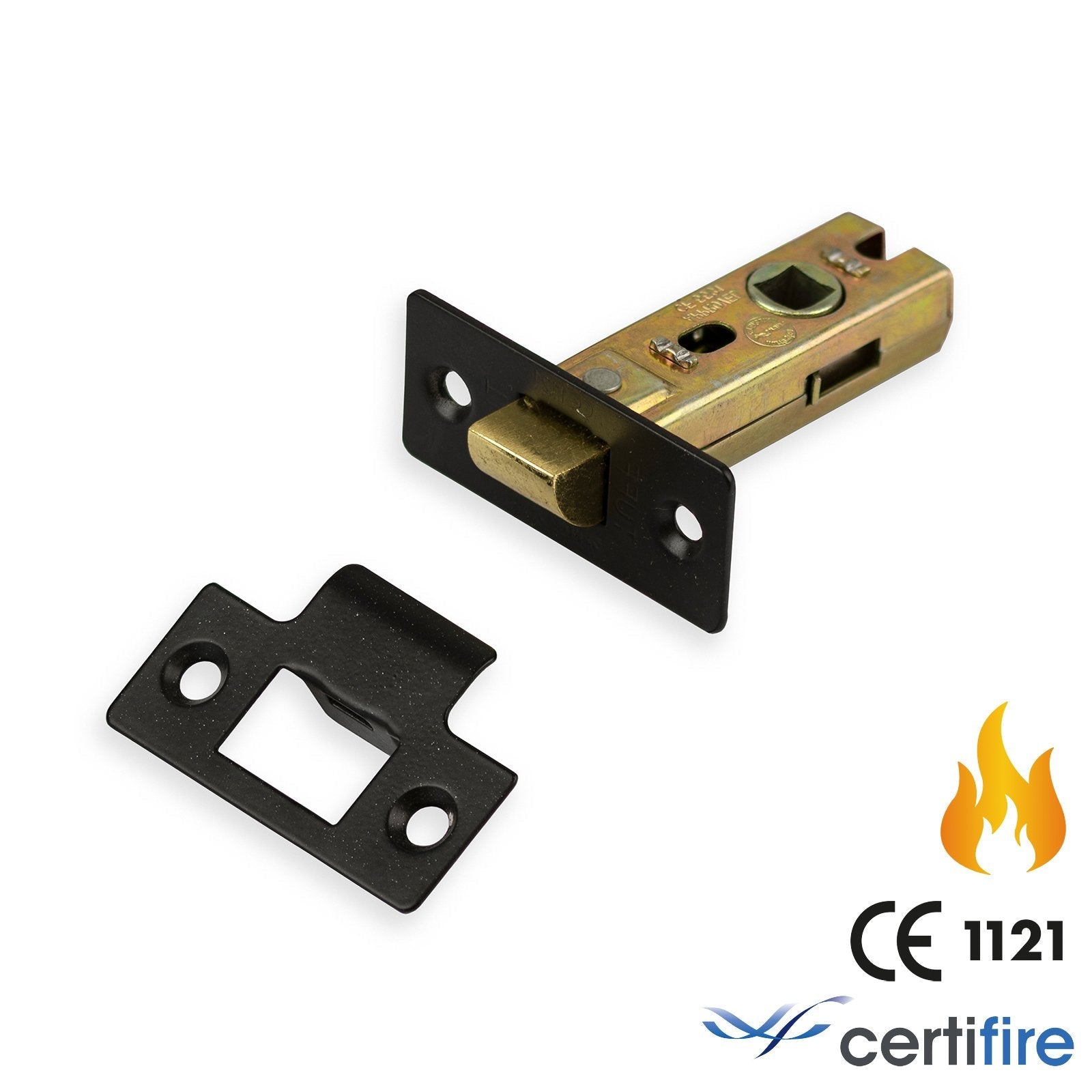 Tubular Latch Bolt Through Fire Rated | 2.5 inch | Epoxy Black