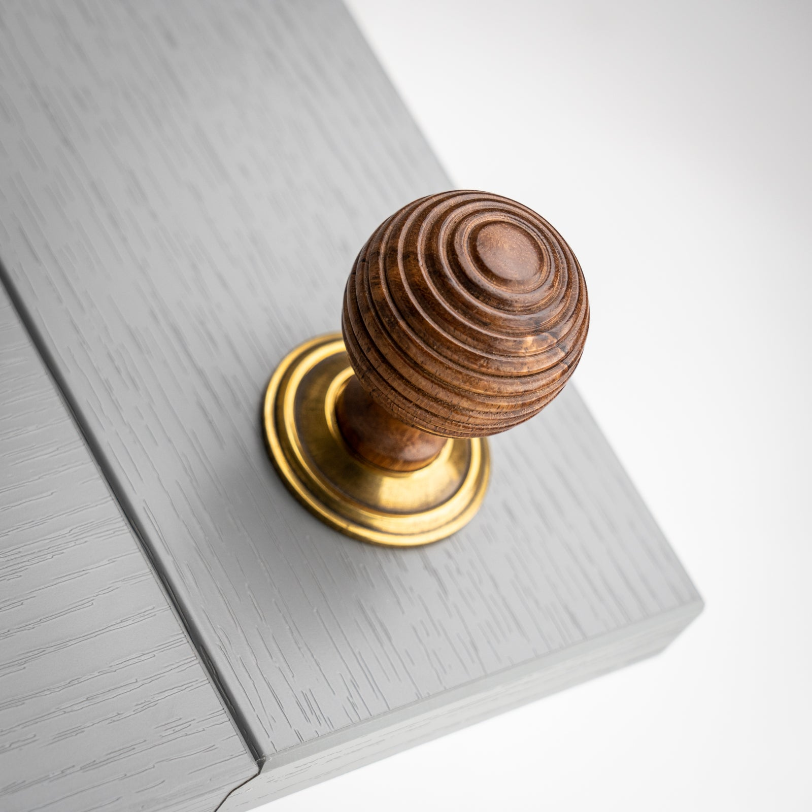 Rosewood Beehive Cabinet Knob with Antique Brass Rose Plate SHOW
