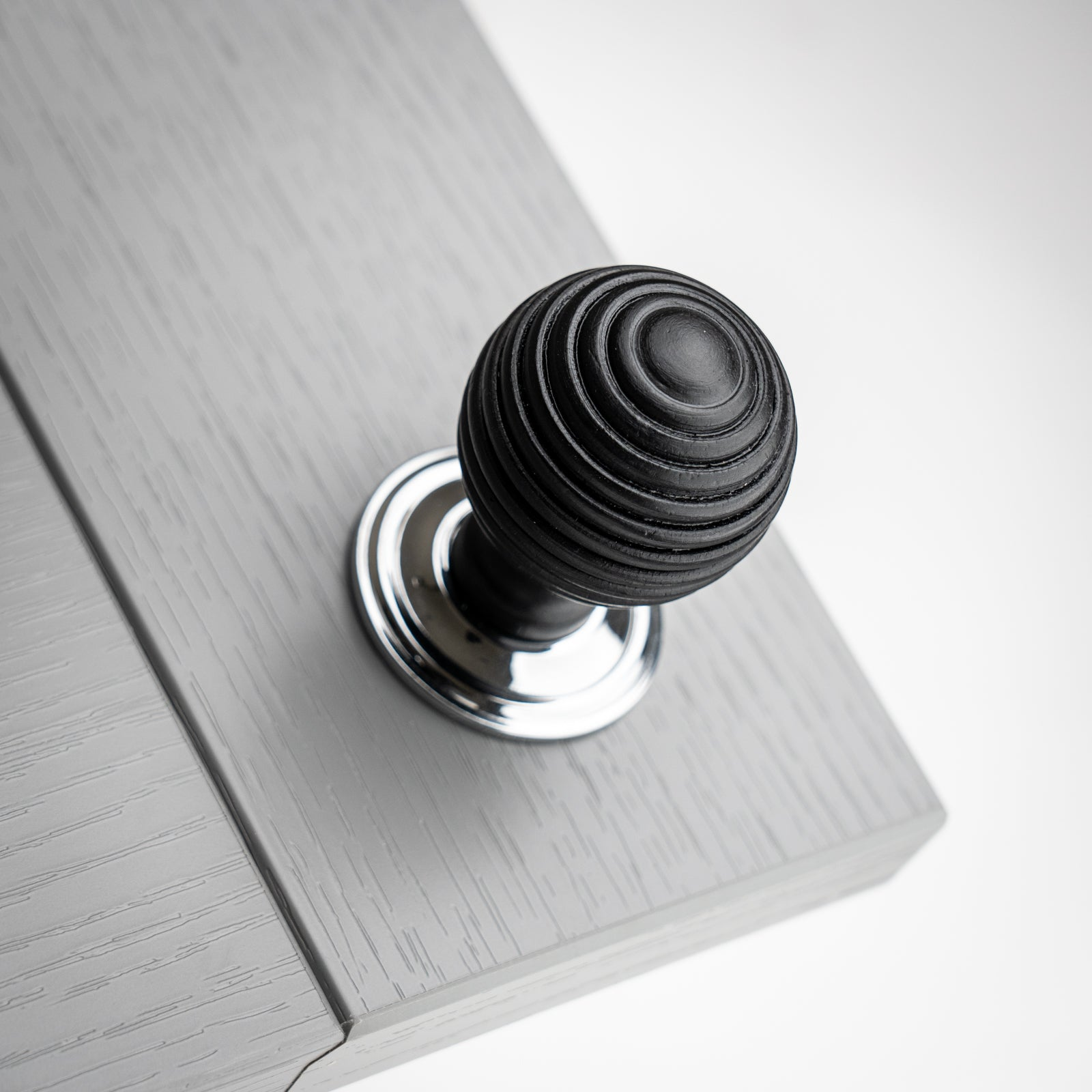 Ebonised Beehive Cabinet Knob with Chrome Rose SHOW