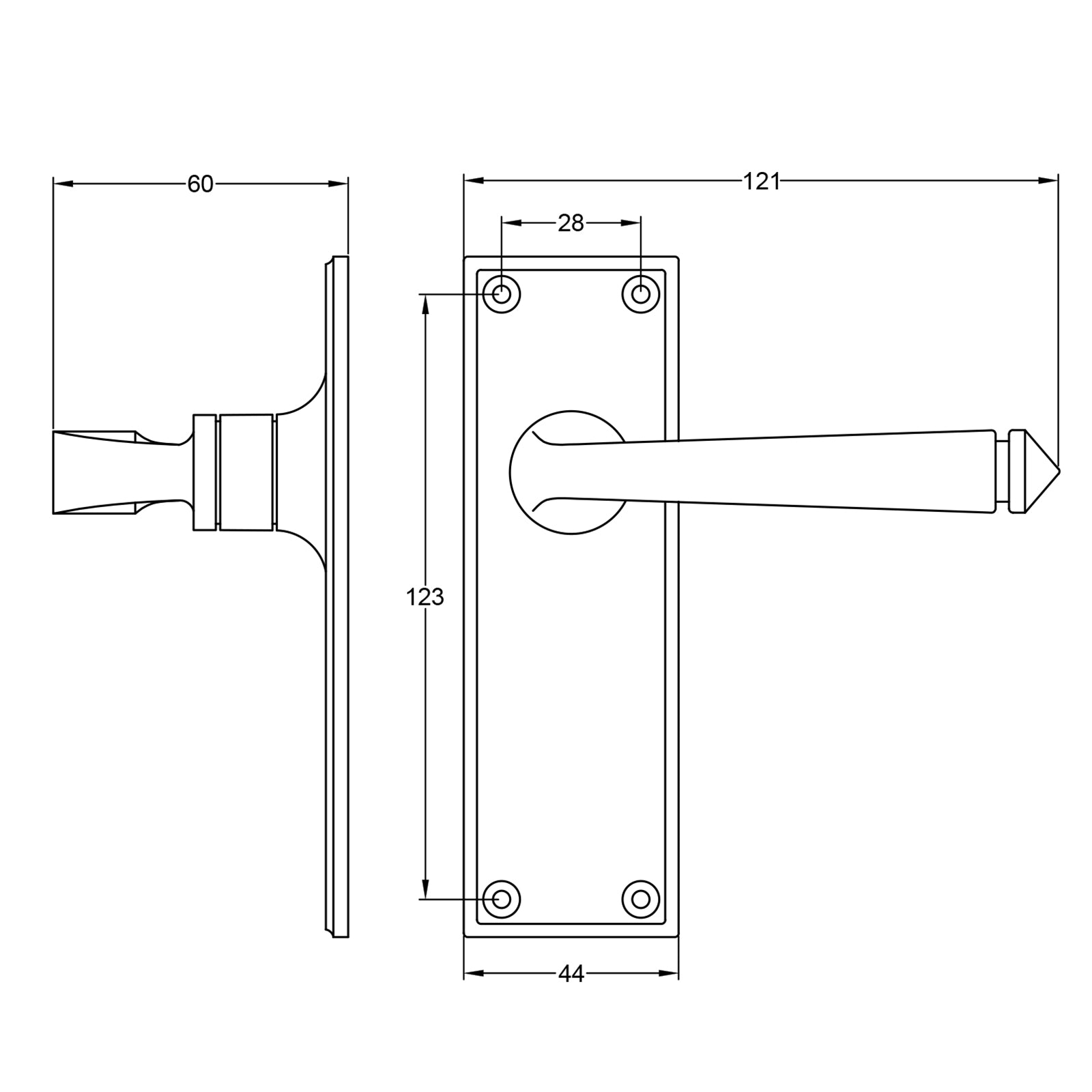 Avon lever handle dimension drawing SHOW