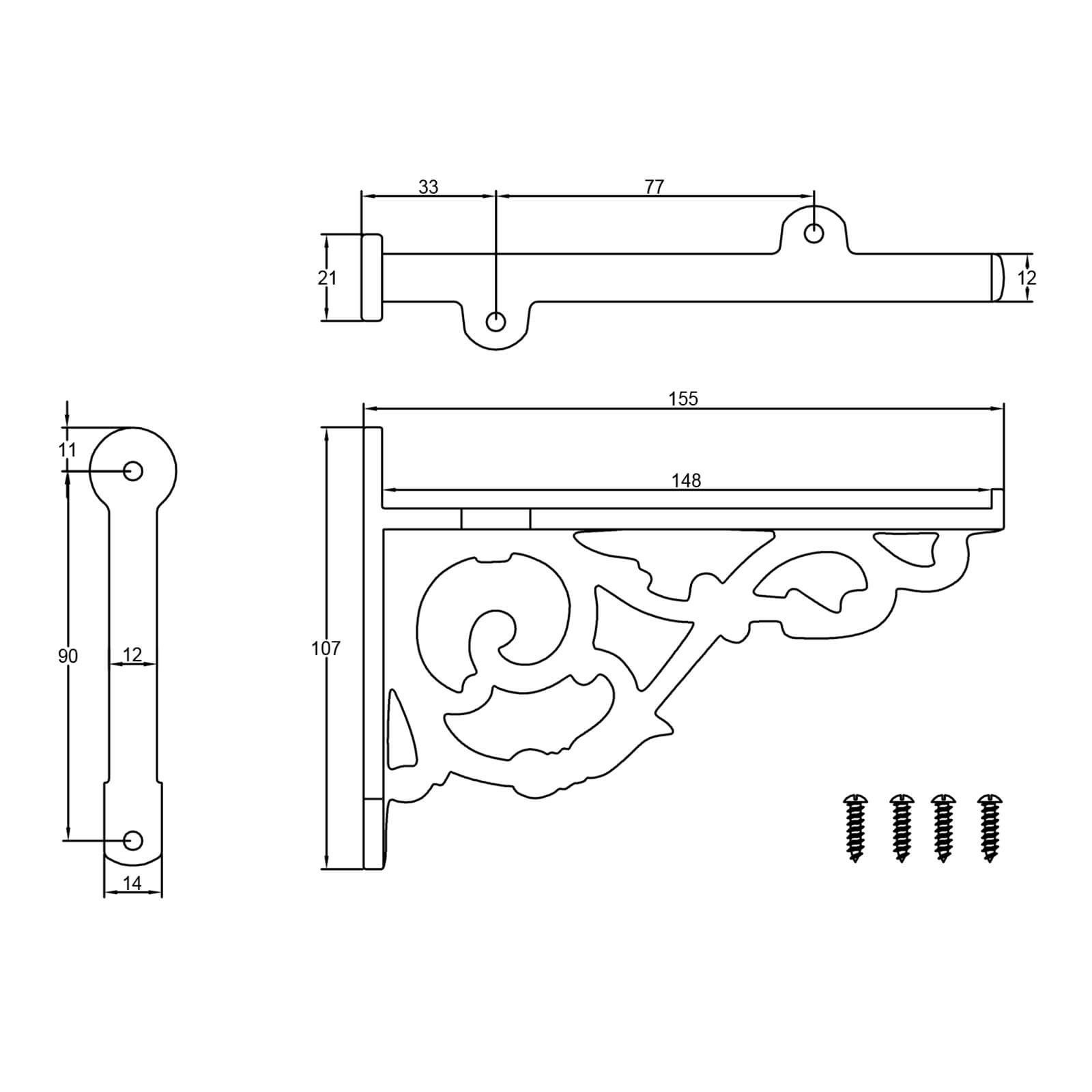 Dimension drawing of anchor cast iron shelf bracket SHOW
