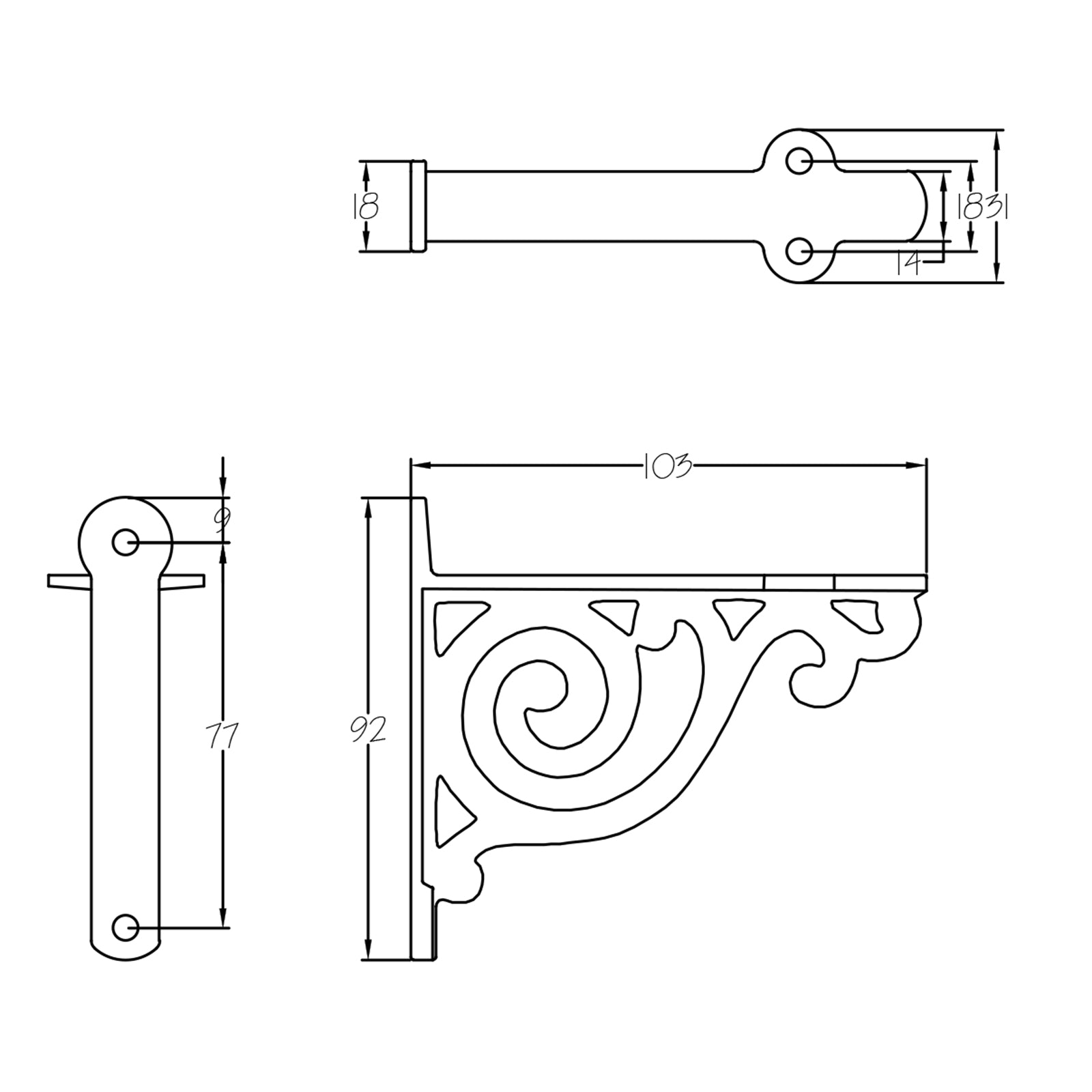 Dimension drawing for Scroll cast iron shelf bracket SHOW