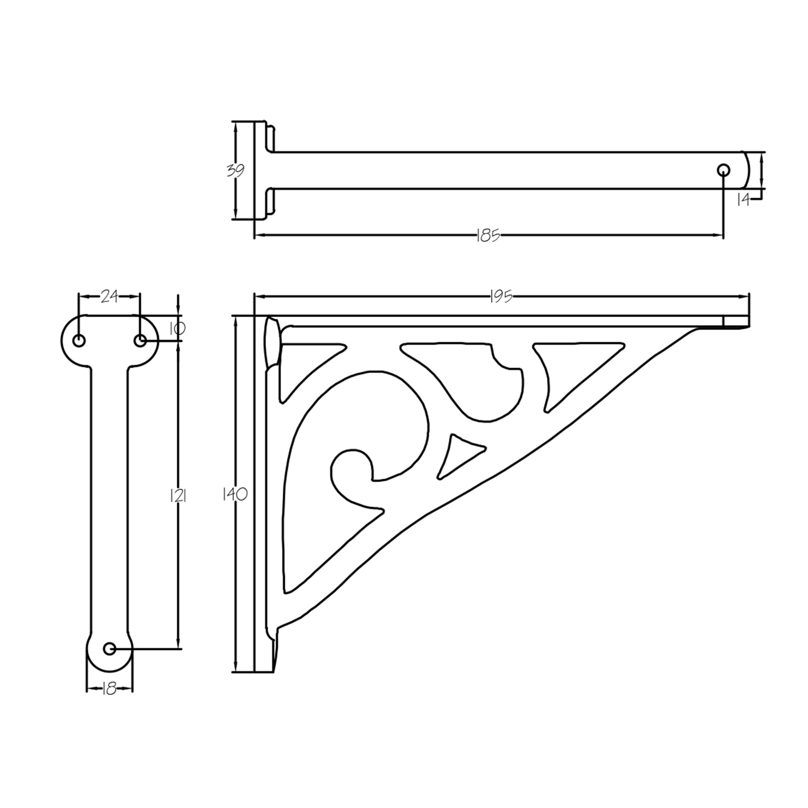 Dimension drawing for Fine cast iron shelf bracket SHOW