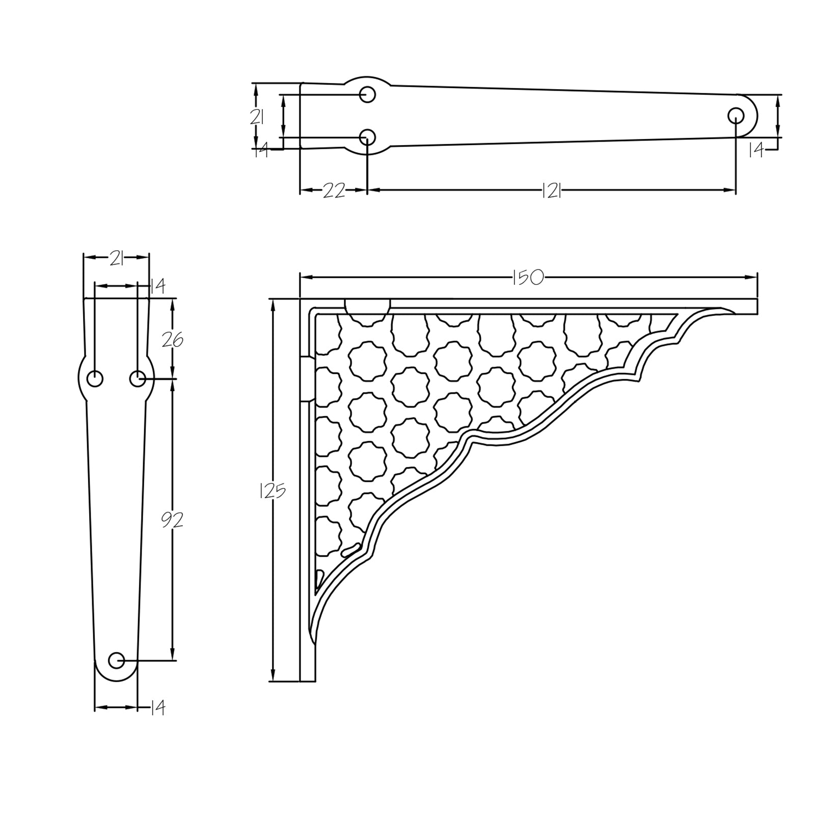 Dimension drawing of honeycomb shelf bracket SHOW