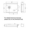 Dimension drawing for bathroom rim lock